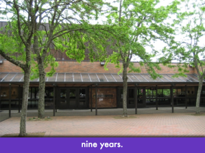 "Lasells student center, Oregon State University; slide text: ""nine years"""