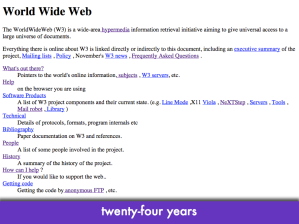 "Screenshot of http://info.cern.ch; slide text: ""twenty-four years"""