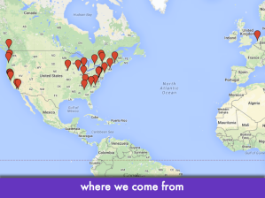 "Screencap of Google Maps with numerous placemarkers; slide text: ""where we come from"""