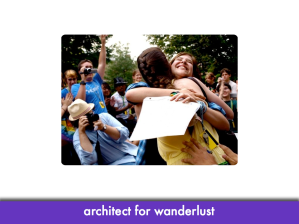 "happy teenage girls hugging; slide text: ""architect for wanderlust"""