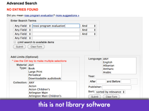 "Screencap of 'no results found' page in library catalog; slide text: ""this is not library software"""