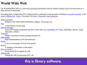 "Screencap of info.cern.ch, same pic as earlier; slide text: ""this is library software"""