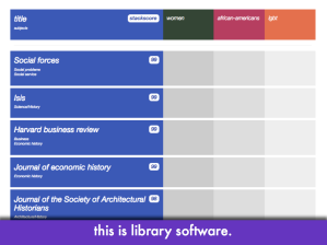 "Screencap of intersectional librarycloud; slide text: ""this is library software"""