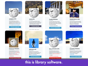 "Montage of congressedits-style bot screencaps; slide text: ""this is library software"""