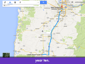 "Google maps screencap showing Corvallis to Portland route; slide text: ""year ten"""